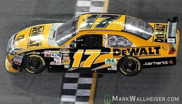Matt Kenseth crosses the finish line to win the rain-shortened 51st Daytona 500 NASCAR Sprint Cup Series race at the Daytona International Speedway in Daytona Beach, Florida February 15, 2009. (Mark Wallheiser/TallahasseeStock.com)