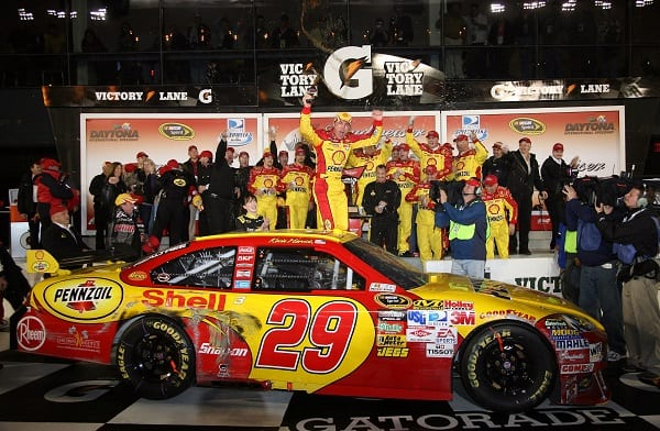 DAYTONA BEACH, FL - FEBRUARY 07:  Kevin Harvick, driver of the #29 Shell/Pennzoil Chevrolet, celebrates in victory lane after winning the NASCAR Sprint Cup Series Budweiser Shootout at Daytona International Speedway on February 7, 2009 in Daytona Beach, Florida.  (Photo by Jerry Markland/Getty Images for NASCAR)